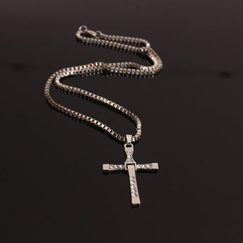 Men's Silver Gold Cross Necklace Pendant Fast and Rich TORETTO'S MOVIE Necklace