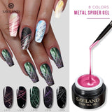 Women Fashion 8 Colors Creative Nail Gel Drawing Painting Lacquer Varnishes Metal Drawing Glue Wire Soak Off UV Polish Glue