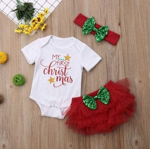 My First Christmas 3Pcs Baby Girl Romper Bodysuit Tutu Tulle Dress Bow Headband Sets 0-18M