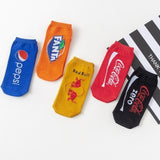 1 Pair Trendy Men Women Colorful Combed Cotton Anckle Socks Boat Socks Tide Brand Cola Funny Socks for Adults