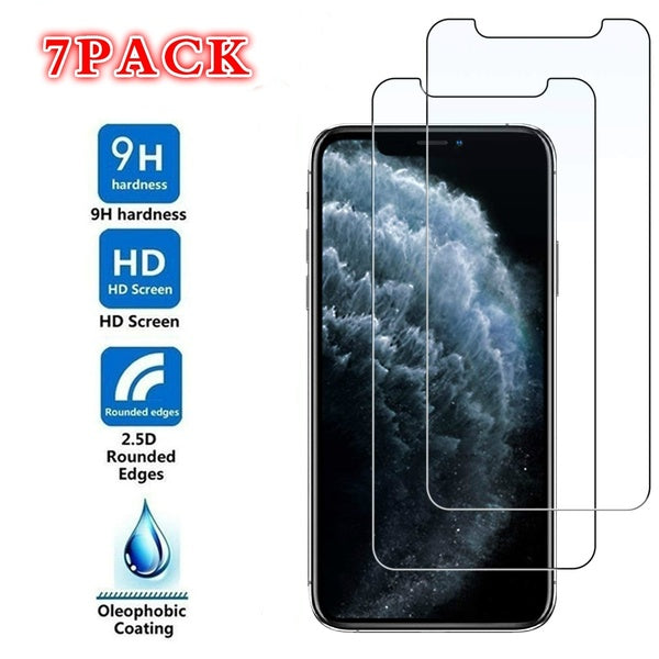 7 Pack Real 9H Tempered Glass Screen Protector Film for Apple IPhone 11 Pro Max Xs XsMax Xr X IPhone 8 8 Plus 7 7 Plus 6 6s Plus 5 5s SE 4 4S