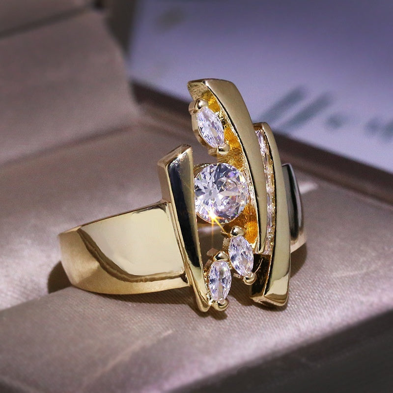 Luxury Women 18k Gold Diamond Gemstone Ring Fashion Wedding Engagement White Sapphire Rings for Women Party Jewelry  Accessories