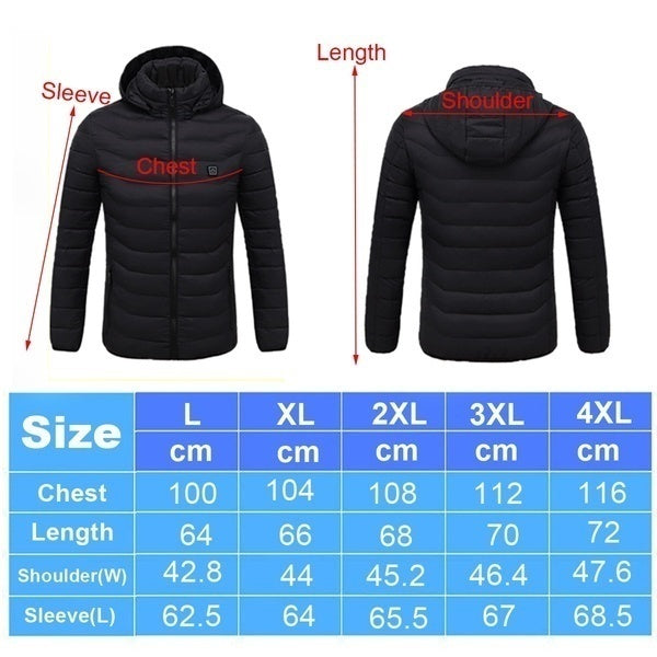 Winter Warm Digital Heating Hooded Work Jacket  Men   Skiing Snow Coats Three Stall Ajustable Temperature Control