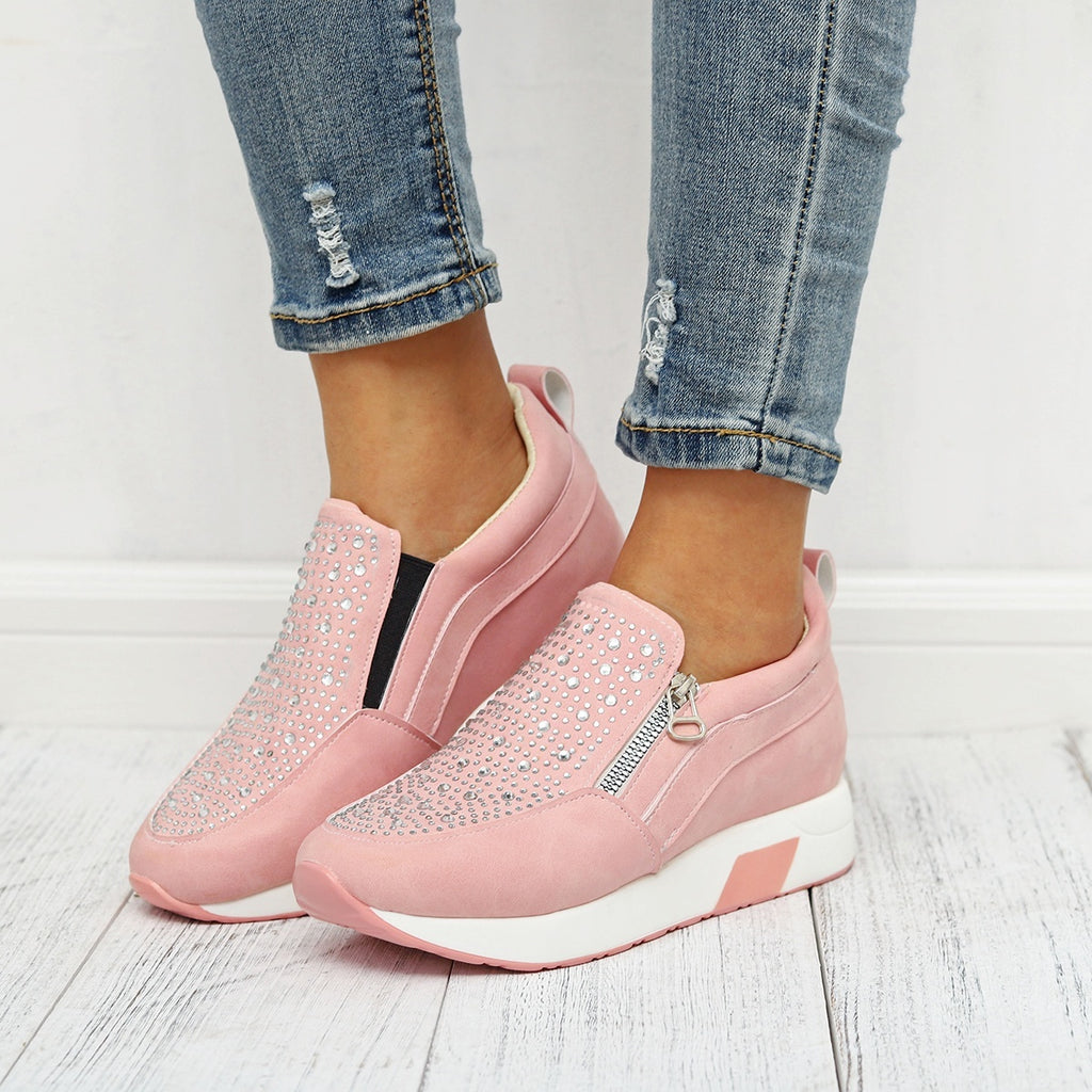 Women Fashion Breathable Wedge Heels Shoes Casula Platform Shoes Lady Comfortable Slip on Walking Sneakers Shoes