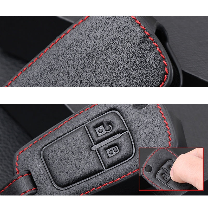 2 Button Car Remote Control Leather Key Fob Case For Opel Astra J Corsa D Zafira