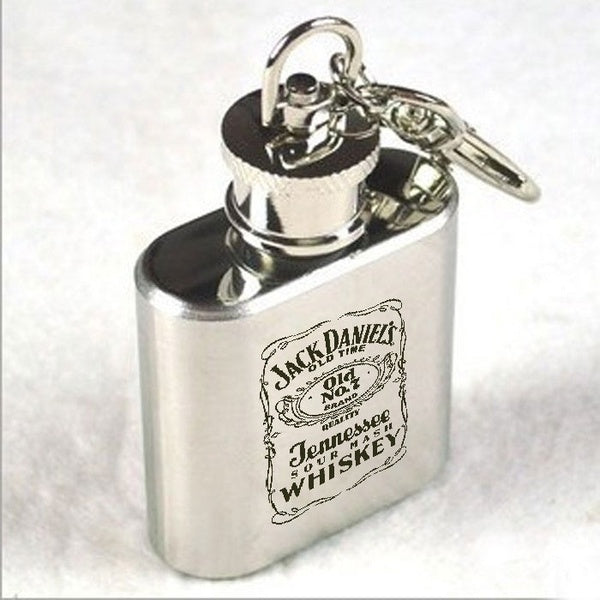 Outdoor Portable Mini Stainless Steel Hip Flask Alcohol Whiskey Keychain Flagon capacity 1 oz