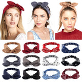 Women's Fashion Elastic Knotted Solid Colors Headwrap Bowknot Headband Rabbit Ears Hairband Turban