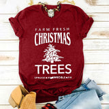 New Christmas Fashion Women Short Sleeve O-neck Christmas Trees Printed T-shirt Casual Slim Fit Cotton T-shirt Festival Tees 4 Colors S-5XL