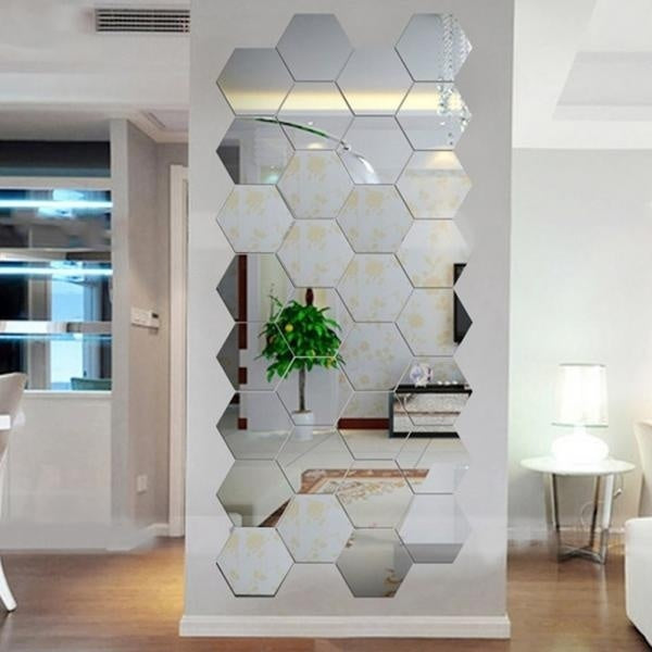 12Pcs Self Adhesive Mirror Effect Wall Sticker Living Room Decal Decor
