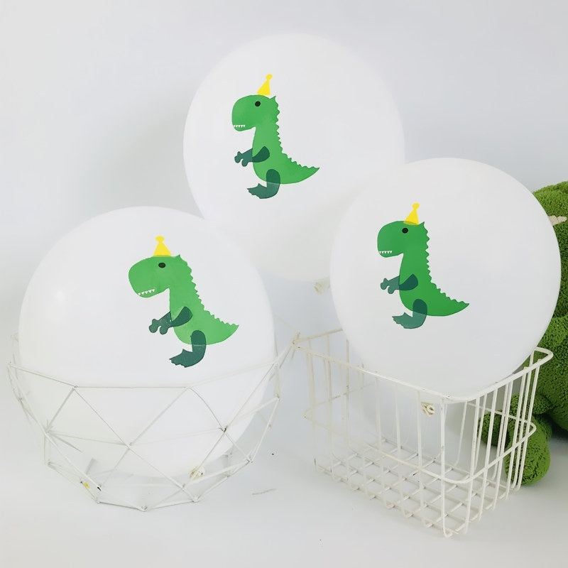 10Pcs 12 Inch Dinosaur Printed Confetti Balloon Baby Children Party Happy Birthday Wedding Party Air Balloons Diy Decoration