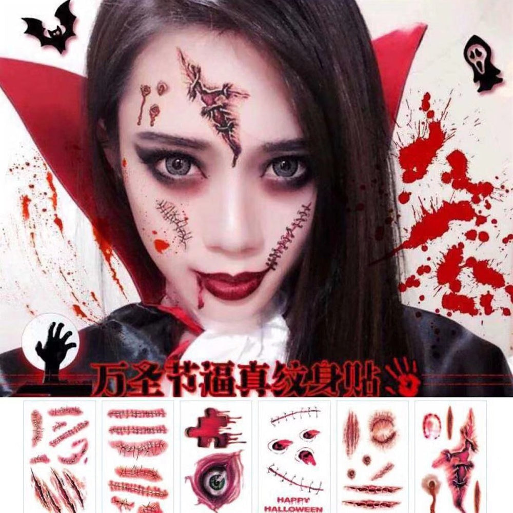 30 PCS Halloween 3D Waterproof Temporary Tattoos Terror Wound Realistic Blood Injury Scar Fake Tattoo Sticker Bloody Makeup