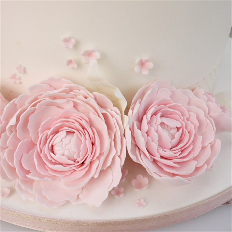 3pcs Peony Flower Leaf Cake Molds Rose Flower Fondant Cutter Cake Decorating Biscuit Pastry Mould