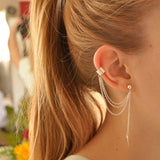 Women Girl Stylish Punk Rock Leaf Chain Tassel Dangle Ear Cuff Wrap Earring