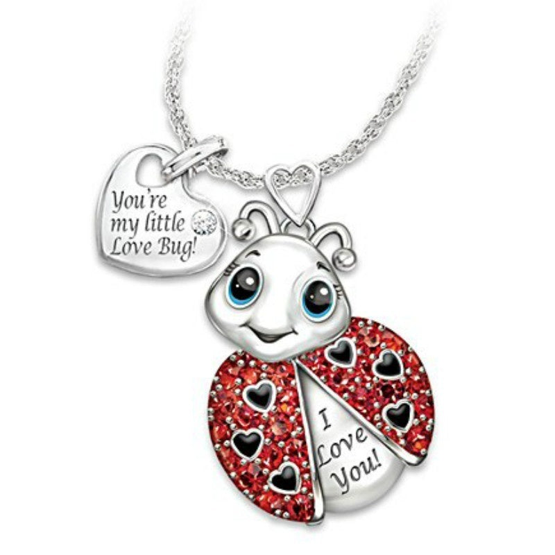 You're My Little Love Bug' Exquisite Fashion 925 Sterling Silver Shiny Cute Ladybug Lucky Insect Pendant Necklace Fashion Accessories Lover's Gift Lovers Necklace Anniversary Gift Jewelry