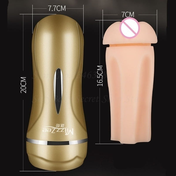 New Male Masturbator Cup 3D Realistic Vagina Mouth Smart Vibrating Sucking Pump Pocket Pussy