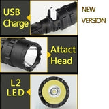 Outdoor Use High Light Professional L2 Flashlight Mulfuntion Flashlight LED Torch with USB Charging and Batrtery