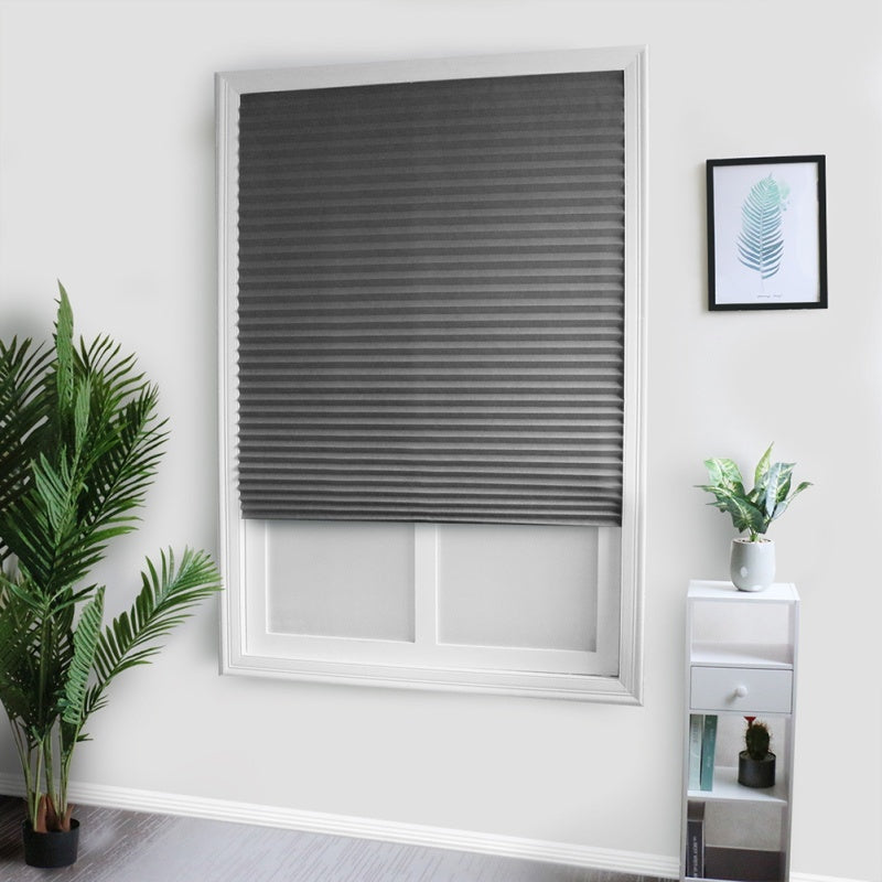 Pleated Shade Curtain Non-Woven Self-Adhesive Pleated Fabric Shade Pleated Blind With Double Tapes For Bathroom Kitchen Balcony