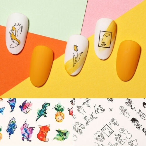 2pcs Nail Sticker Water Decals Art Stickers Tattoo Slider Geometric Girl Face Designs Decorations Manicure Transfer Foil Wraps Polish