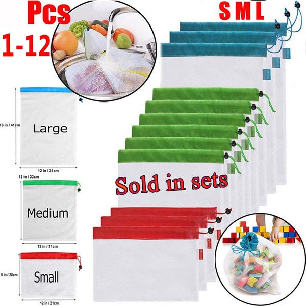 1/5/12 CPS Reusable Mesh Produce Bags Washable Bags for Grocery Shopping Storage Fruit Vegetable Toys Sundries Organizer Storage Bag