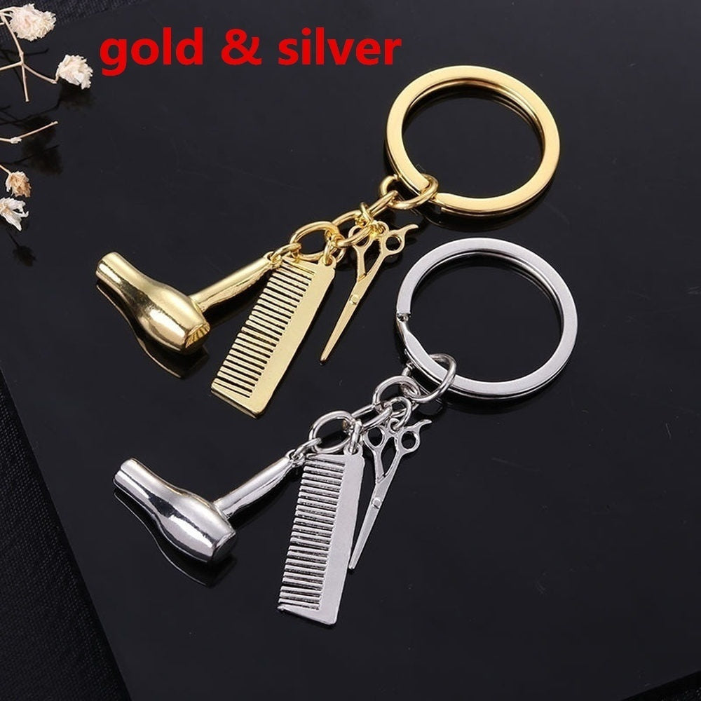 2PCS New Personality Hair Dryer Combs Scissors Pendant Keychain Hairdressing Tools Hair Stylist Scissor Blow Salon Creative Gift