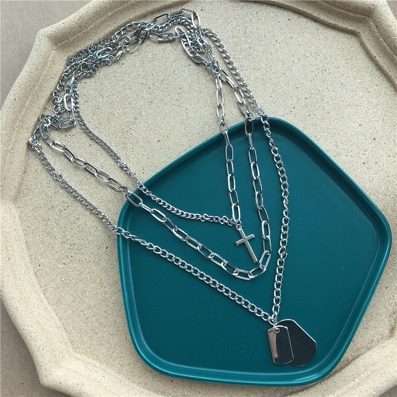 Multilayers Punk Silver Chains Cross Necklace Couple Fashion Street Hip Hop Geometric Metal Pendant Necklaces for Women
