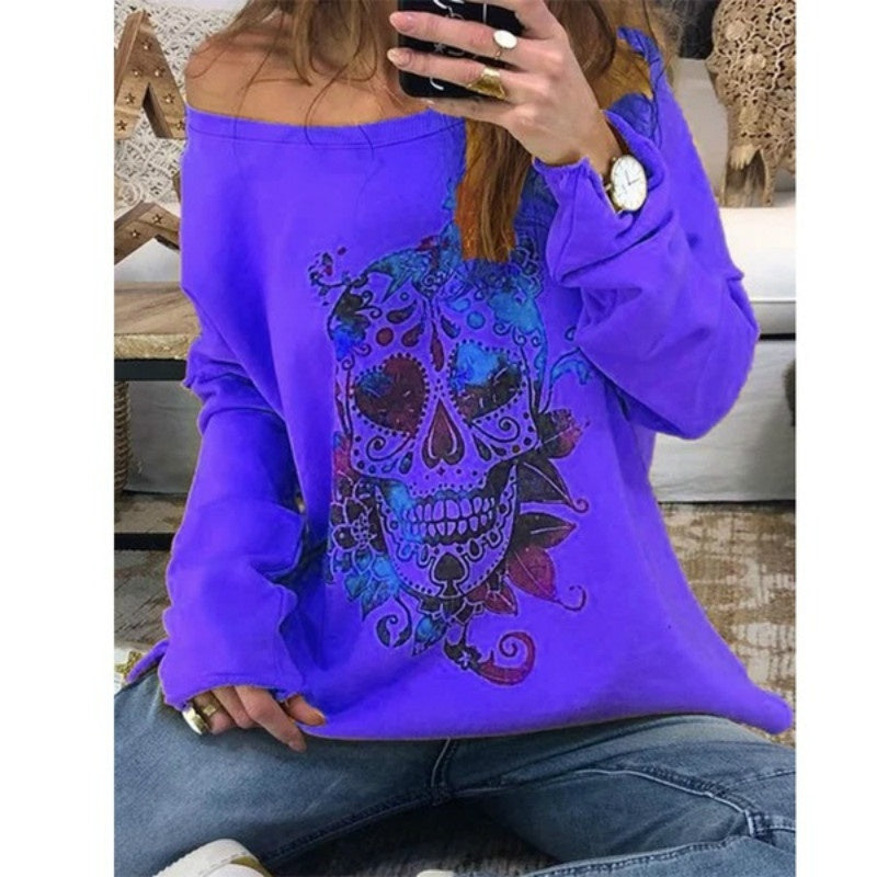 Autumn New Women Fashion Loose Off Shoulder Round neck Long Sleeve Shirt Casual Skull Printing Pullover Blouses Plus Size T-shirts Tops