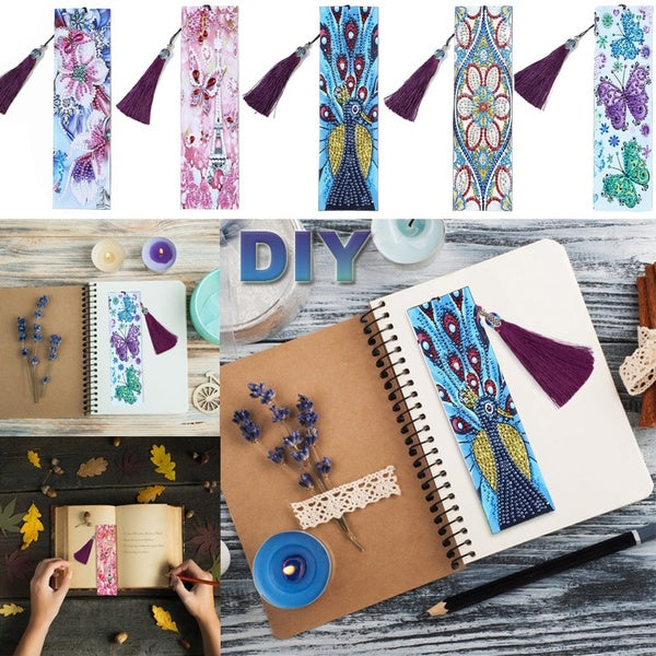 5Styles DIY Special Shaped Diamond Painting Leather Tassel Bookmarks Girl Gifts