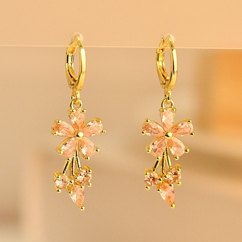 Exquisite 18k Yellow Gold Natural Gemstone Sapphire Earring Women Wedding Engagement Fine Jewelry