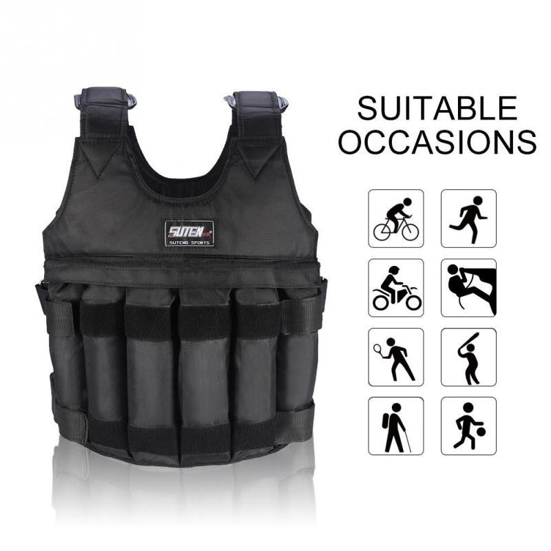 20/50KG Max Loading Adjustable Workout Weight Weighted Vest Boxing Waistcoat Swat Sand Clothing Exercise Training Fitness Jacket