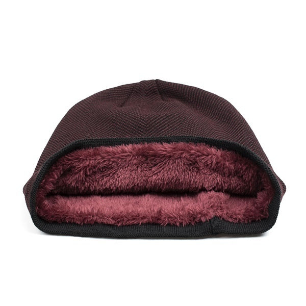 5 Colors Outdoor Men Soft plus velvet Warm hooded Hat Knitted Beanie Velvet Wool Cap  Fashion Accessories Winter Ski Hat