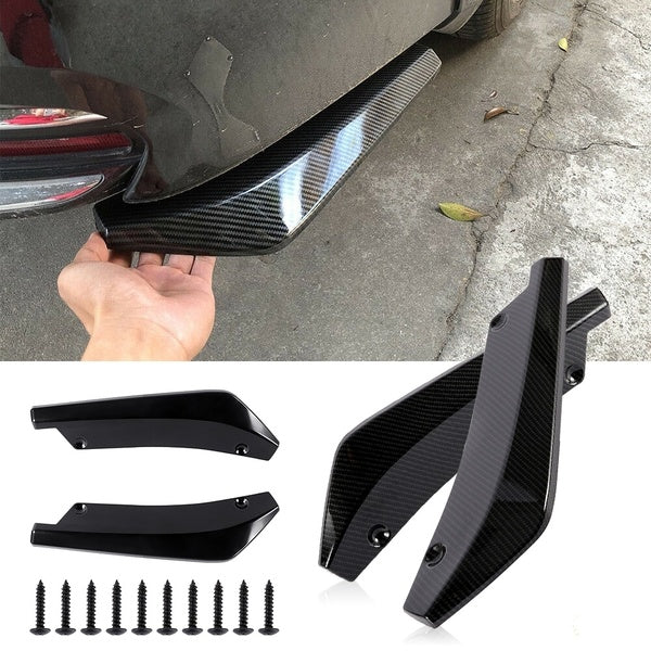 2Pcs/pair Universal Car Carbon Fiber Rear Bumper Lip Diffuser Splitter Canard Protector with Matching Screws
