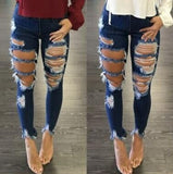 Fashion Women Out Street Boyfriend Jeans Ladies Ripped Cowboy Jeans Pants
