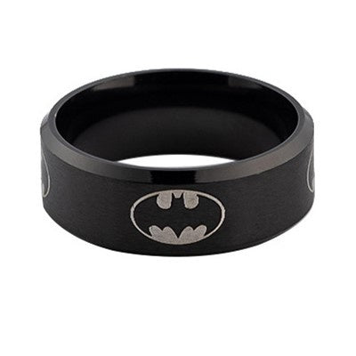 Black Batman fashion jewelry stainless steel ring 8mm wide Size 6-12