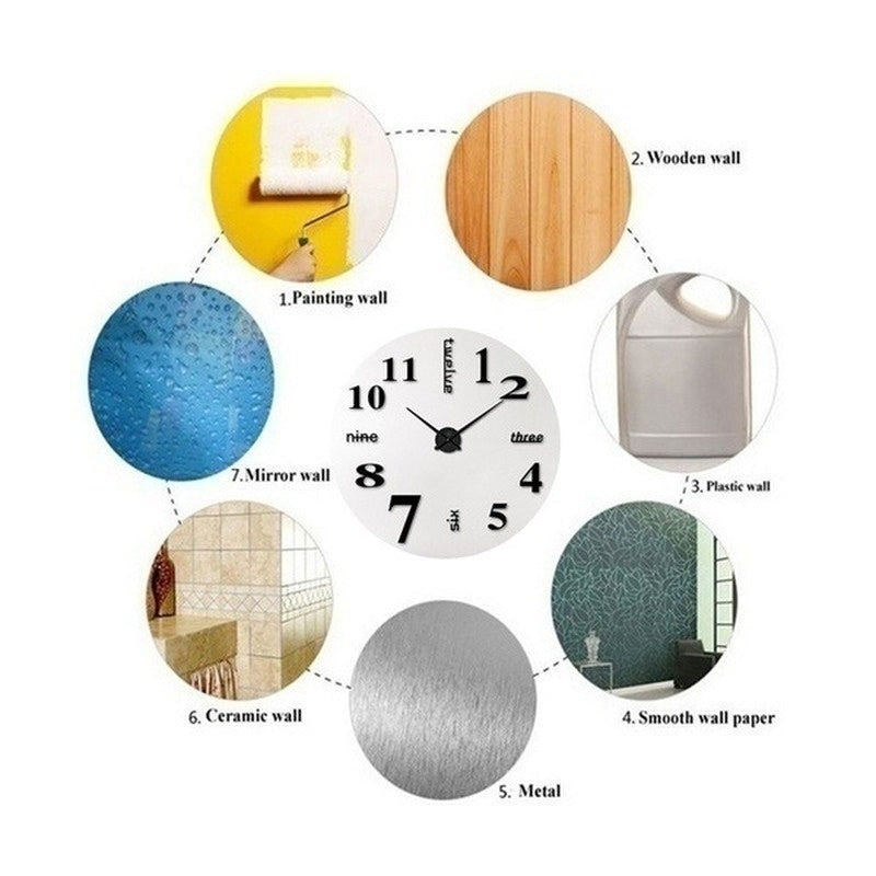 Diameter 40cm/120cm Modern 3D Acrylic Mirror DIY Wall Clock for Home Living Room Decoration