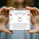 Teacher Necklace: Teacher Appreciation Gift, Gifts for Teacher, Teacher Thank You, Superhuman Capable of Miracles, 2 Linked Circles