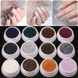 12 Color Gradient Shiny Nail Glitter Set Powder Laser Sparkly Manicure Nail Art Chrome Pigment Silver DIY Nail Art Decoration Kit