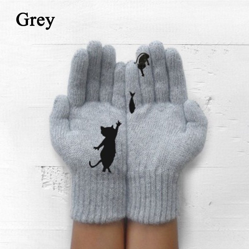 Fashion Ladies Winter Warm Knitted Gloves Cute Cat Printed Knitted Gloves