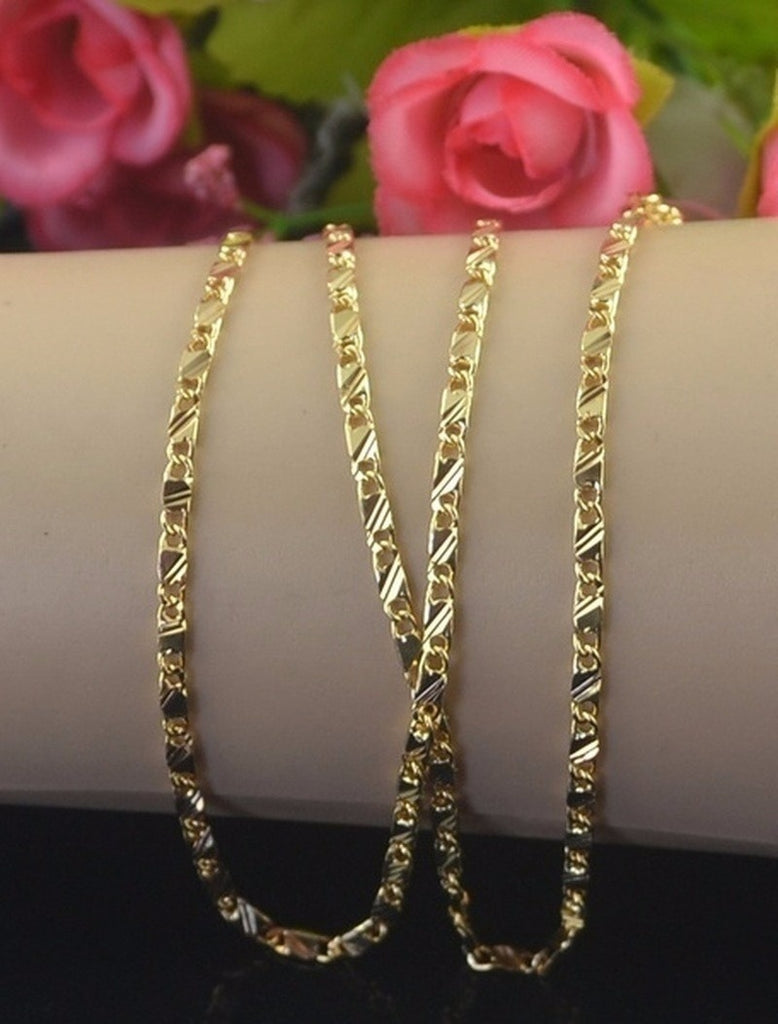 16-30 Inches Luxury Exquisite Genuine Gold Color Filled Golden Chain Necklace