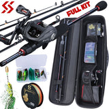 Fishing Rod Reel Combos Full Kit with Portable Travel Fishing Carbon Casting Fishing Pole 13BB Baitcasting Reel and Fishing Line Lure Accessories Carrier Bag