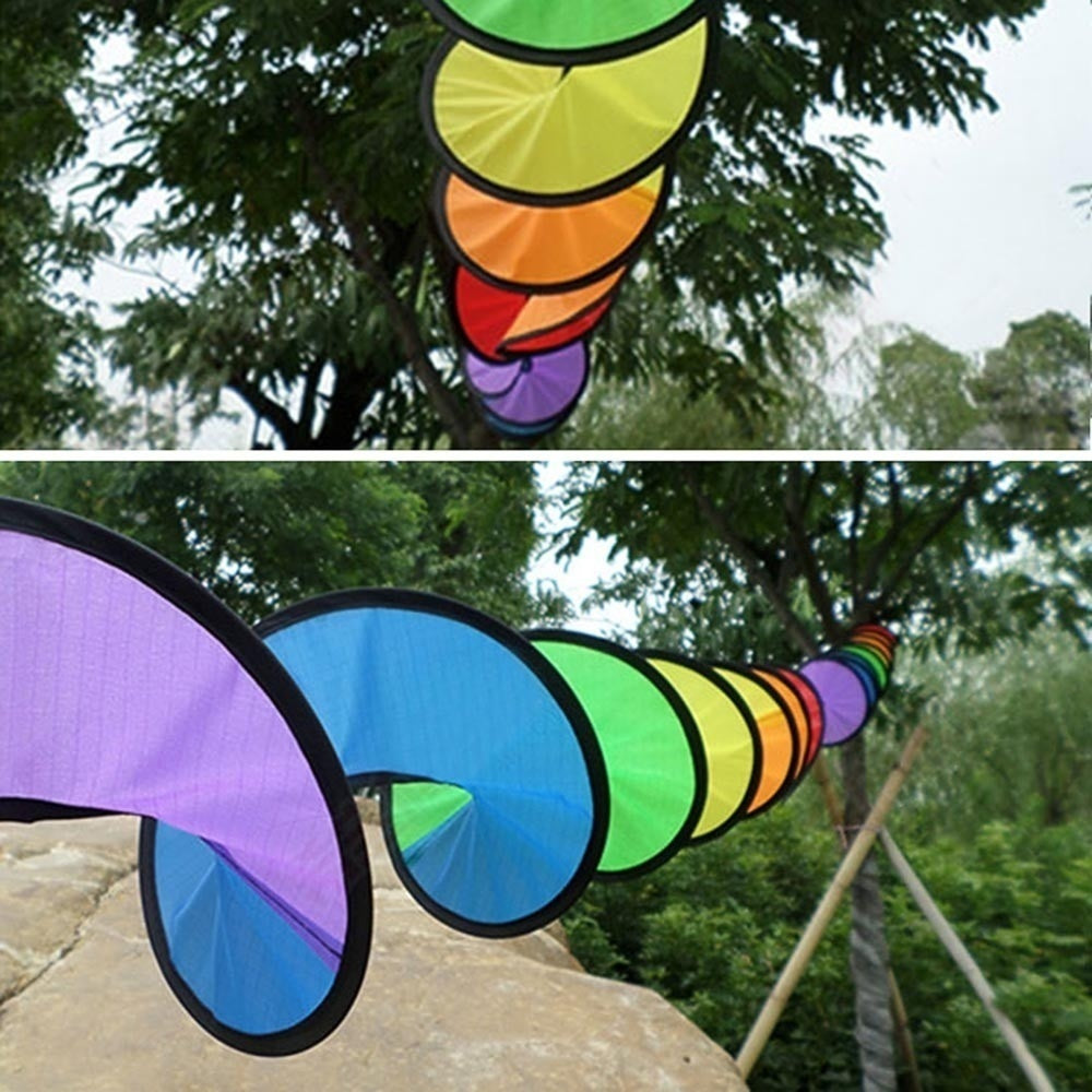 Foldable Rainbow Spiral Windmill Tent Colorful Beautiful Wind Spinner Garden Outdoor Camping Picnic