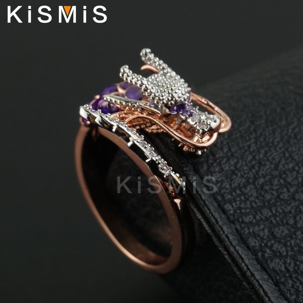Unique Dragon Rings, Trendy Chinese Dragon Shape Style CZ Band Ring Ladies Fashion Kismis Accessories for Women, Men, Wedding, Prom, Party, Daily Wear, Anniversary, Christmas, Birthday Gift - Rose Gold, Size 6 To 10