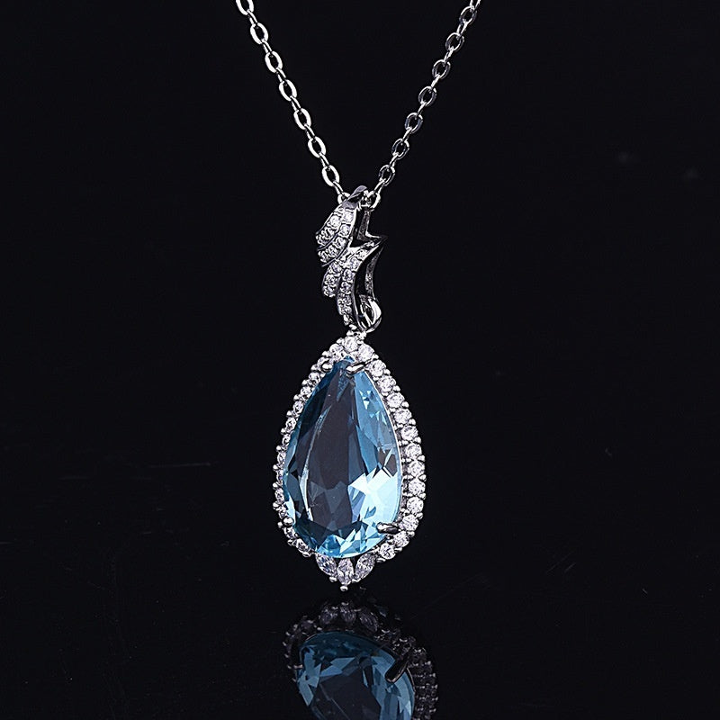 Gorgeous Dazzling 925 Sterling Silver 18K White Gold Aquamarine Blue Topaz Pendant Necklace for Woman Princess Bride Bride Wedding Engagement Anniversary Jewelry