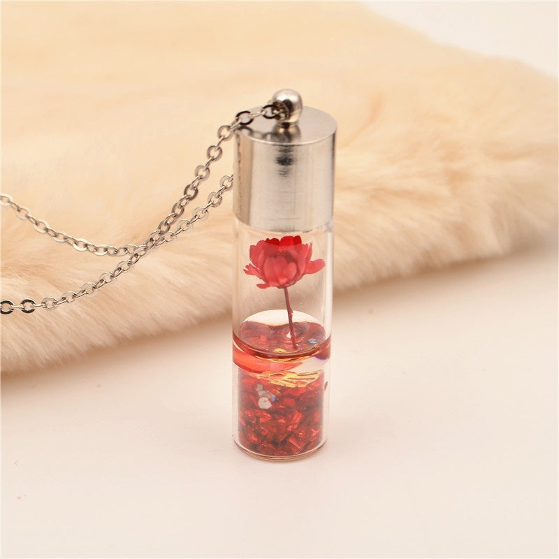 2020 New crystal glass bottle Fashion Necklace mini dried flower wish bottle pendant lucky Necklace jewelry Accessories