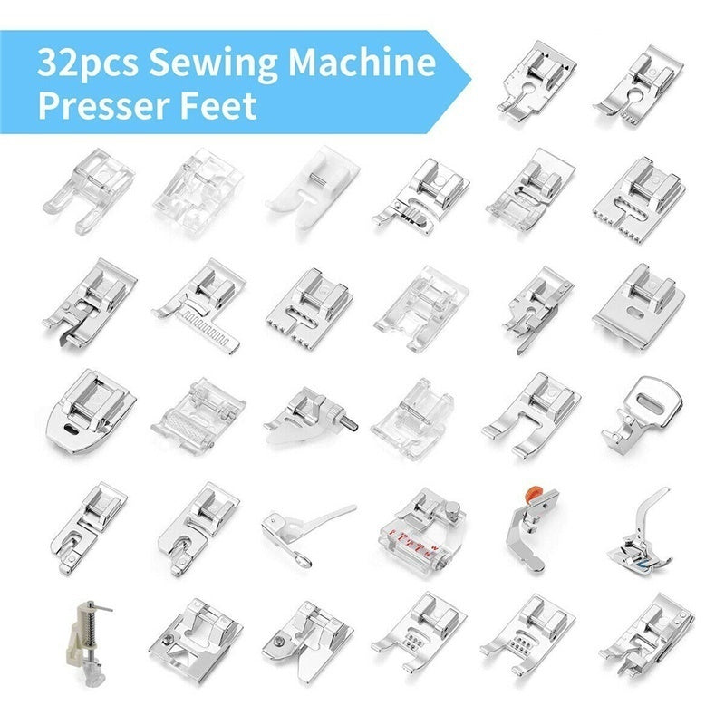 32pcs Domestic Sewing Machine Presser Foot Feet Set for Brother Singer Janome