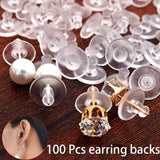 100 Pcs Stud Earring Transparent Rubber Stoppers Silicone Round Ear Plugging Blocked Earring Backs Stoppers Ear