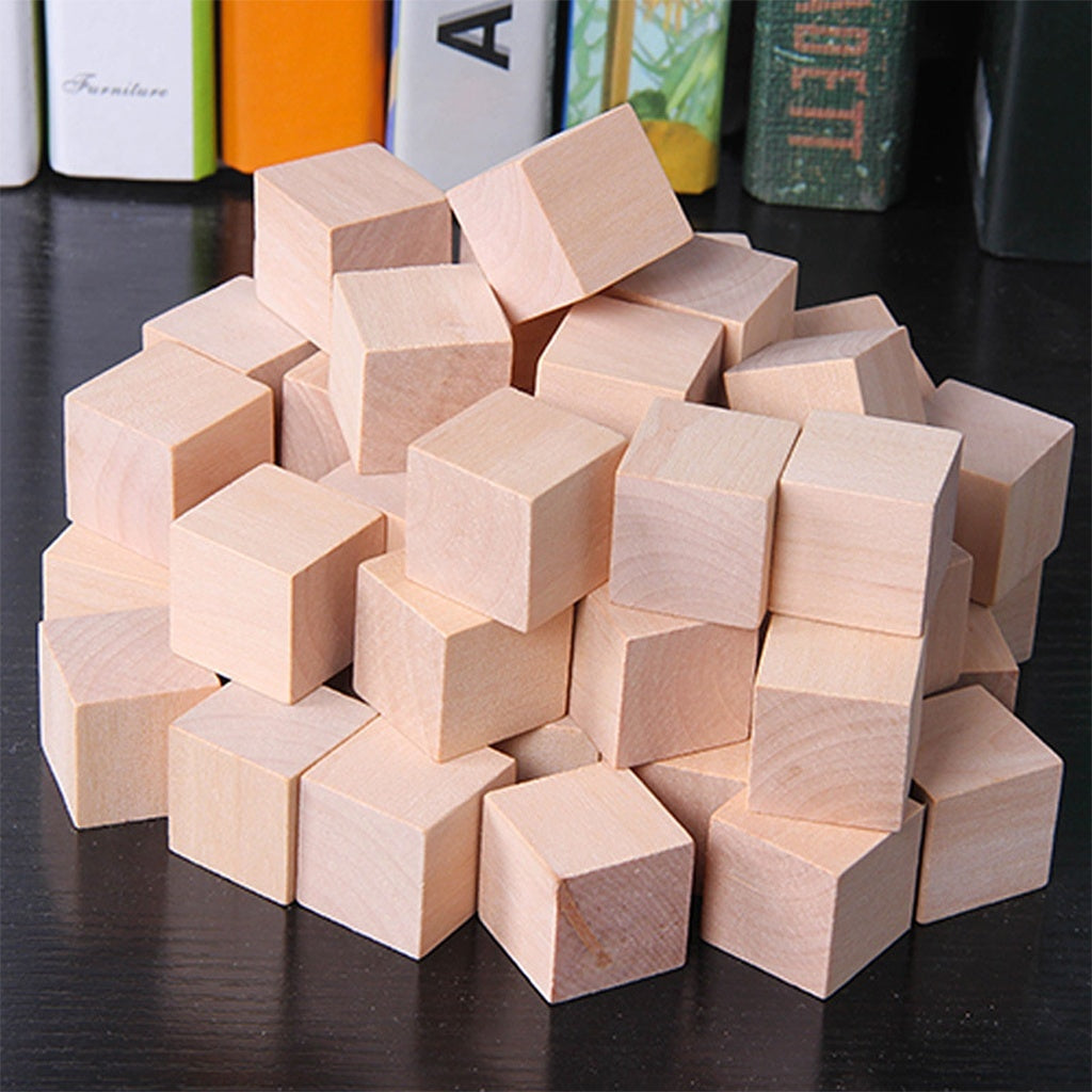Wooden Cubes Natural Unfinished Craft Wood Blocks for Baby Shower Pack of 20 POE
