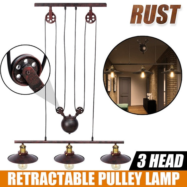 (Bulb not included) Industrial Vintage Chandeliers Pulley Light Pendant lighting Fixture, Adjustable Wire, Retractable, AC110-240V, E27 Hanging Lamp, Retro Iron Ceiling Light, for Pool Table Farmhouse Kitchen Island Bar