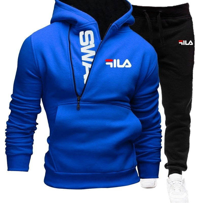 Fashion Mens Tracksuit Sets Pullover Hoodie Suits Sports Wear Cotton Pullover Suits