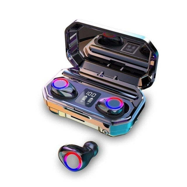 2020 Newest Mini Earbuds 9D HiFi CVC8.0 Noise Cancelling Bluetooth 5.0 Earphones TWS Sport Waterproof Headphones Deep Bass Sound Cordless Bank Headsets with Power Bank Chaging Case  (Monaural Version 100/1500mAh or Led Binaural Version 4000/8000mAh)