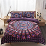 3D European&American Bedding Bohemian Ethnic Style Three-piece Set Quilt Cover + Pillowcase Bedding Set for Twin Full Queen King Size